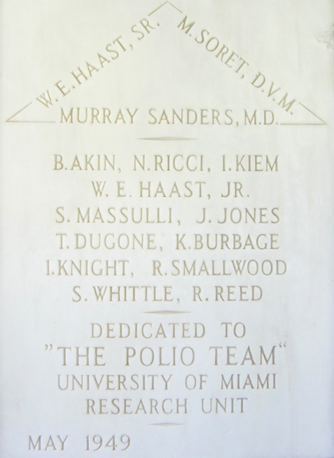 Marble plaque in honor of the Polio Team